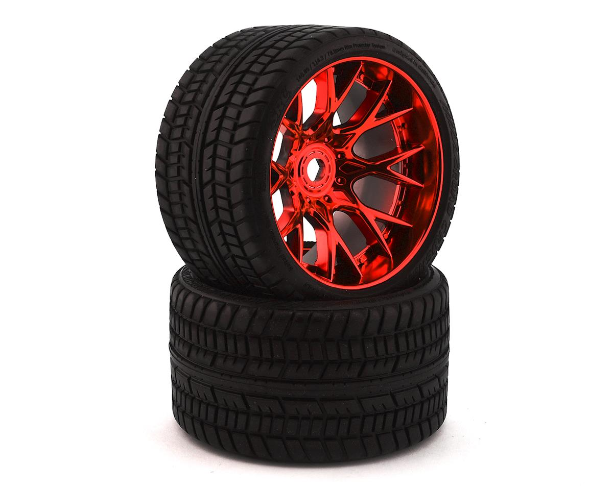 Sweep Road Crusher Belted Pre-Mounted Monster Truck Tires (Red) (2) (Arrma Outcast 6S BLX)