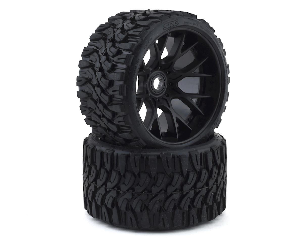 Sweep Terrain Crusher Belted Pre-Mounted Monster Truck Tires (Black) (2)