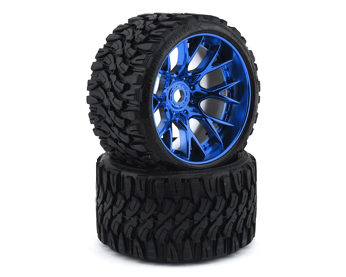 Sweep Terrain Crusher Belted Pre-Mounted Monster Truck Tires (Blue) (2) (Traxxas Summit)