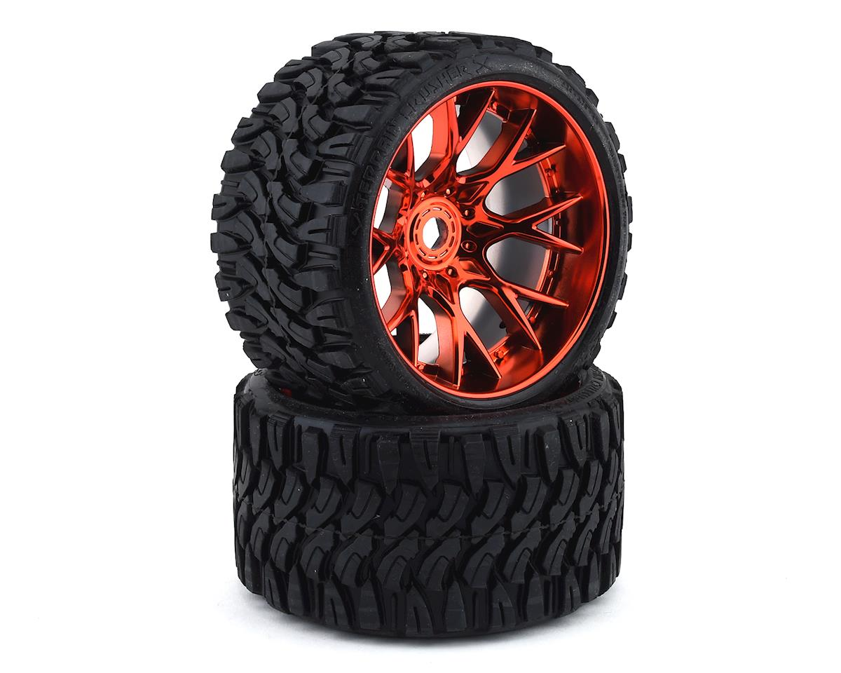 Sweep Terrain Crusher Belted Pre-Mounted Monster Truck Tires (Red) (2) (Traxxas Summit)