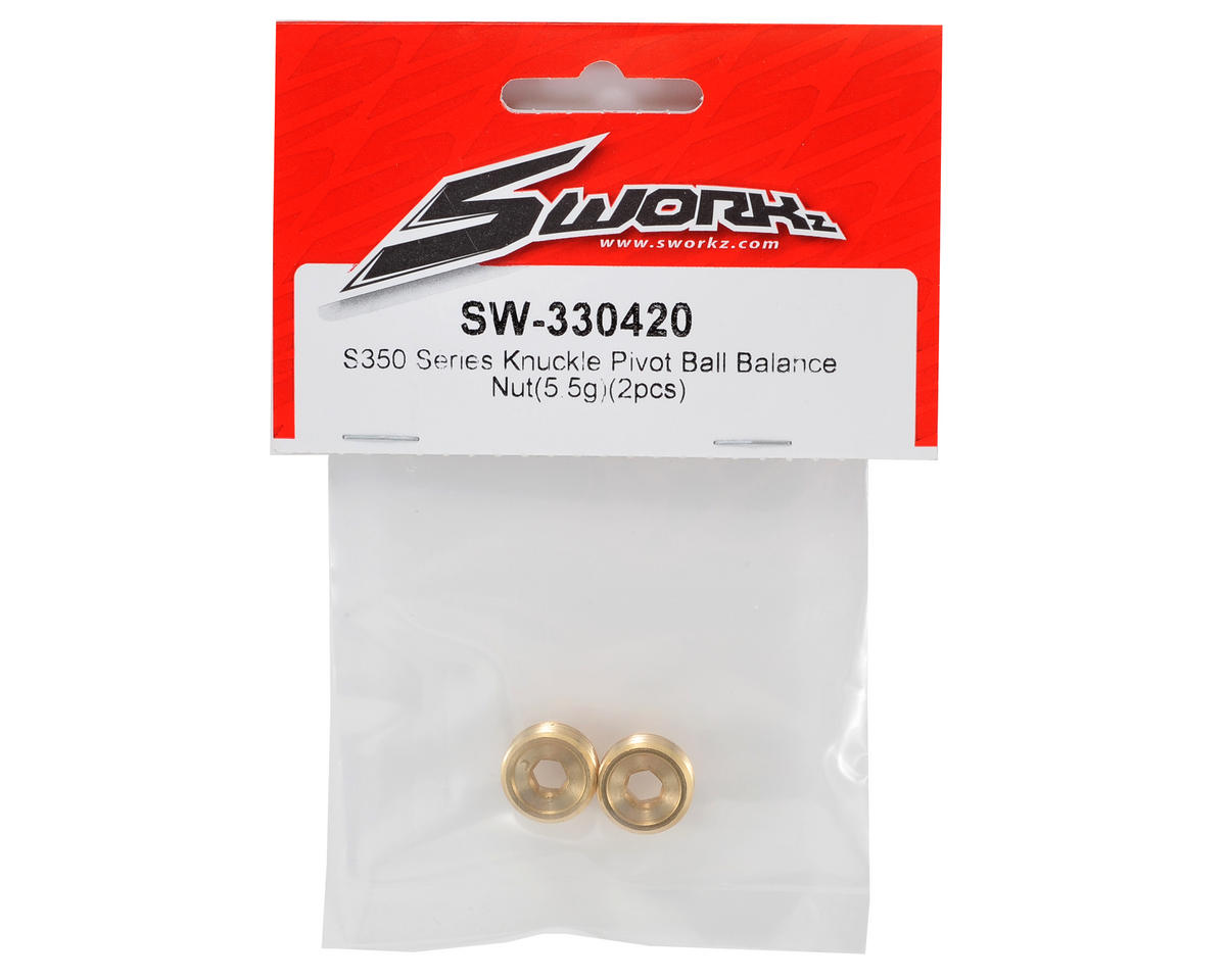 S350 Brass Pivot Ball Balance Nut (5.5g) (2) by SWorkz