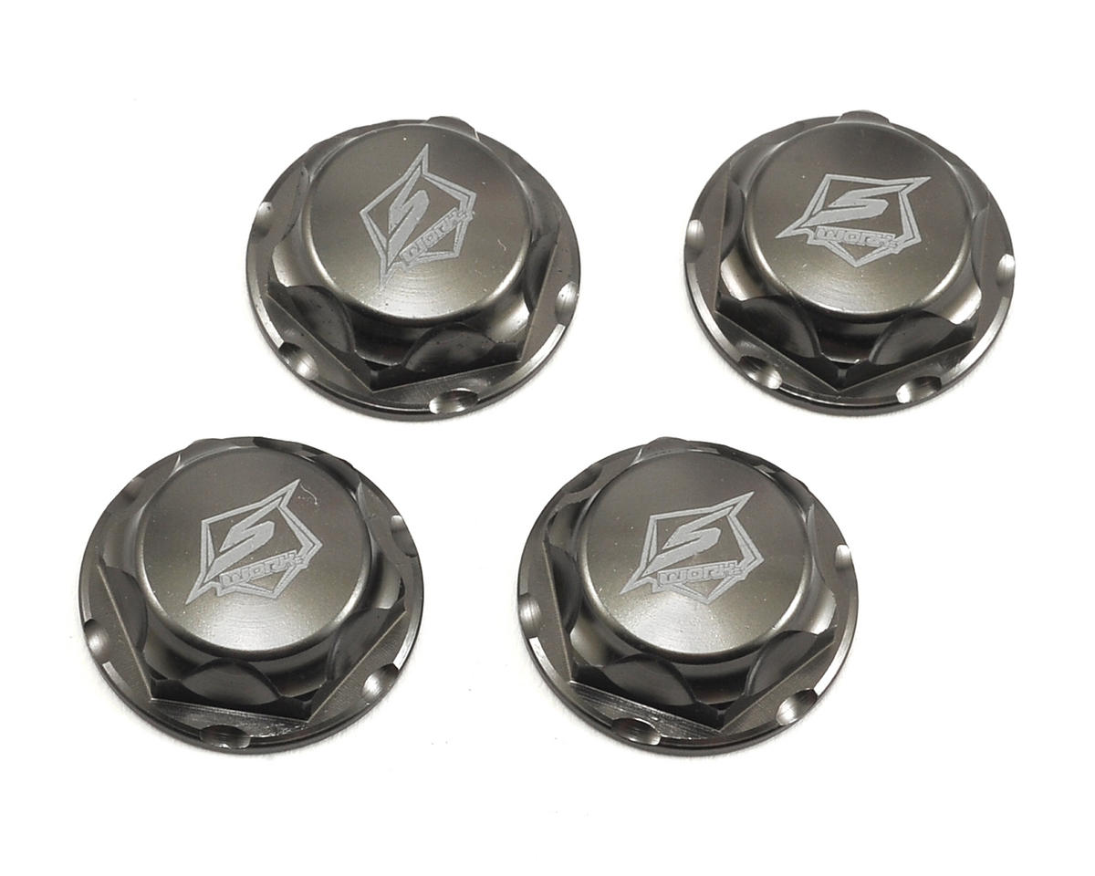 S104 14mm Aluminum Serated Pro Flanged Wheel Nut (Gun Metal) (4) by SWorkz
