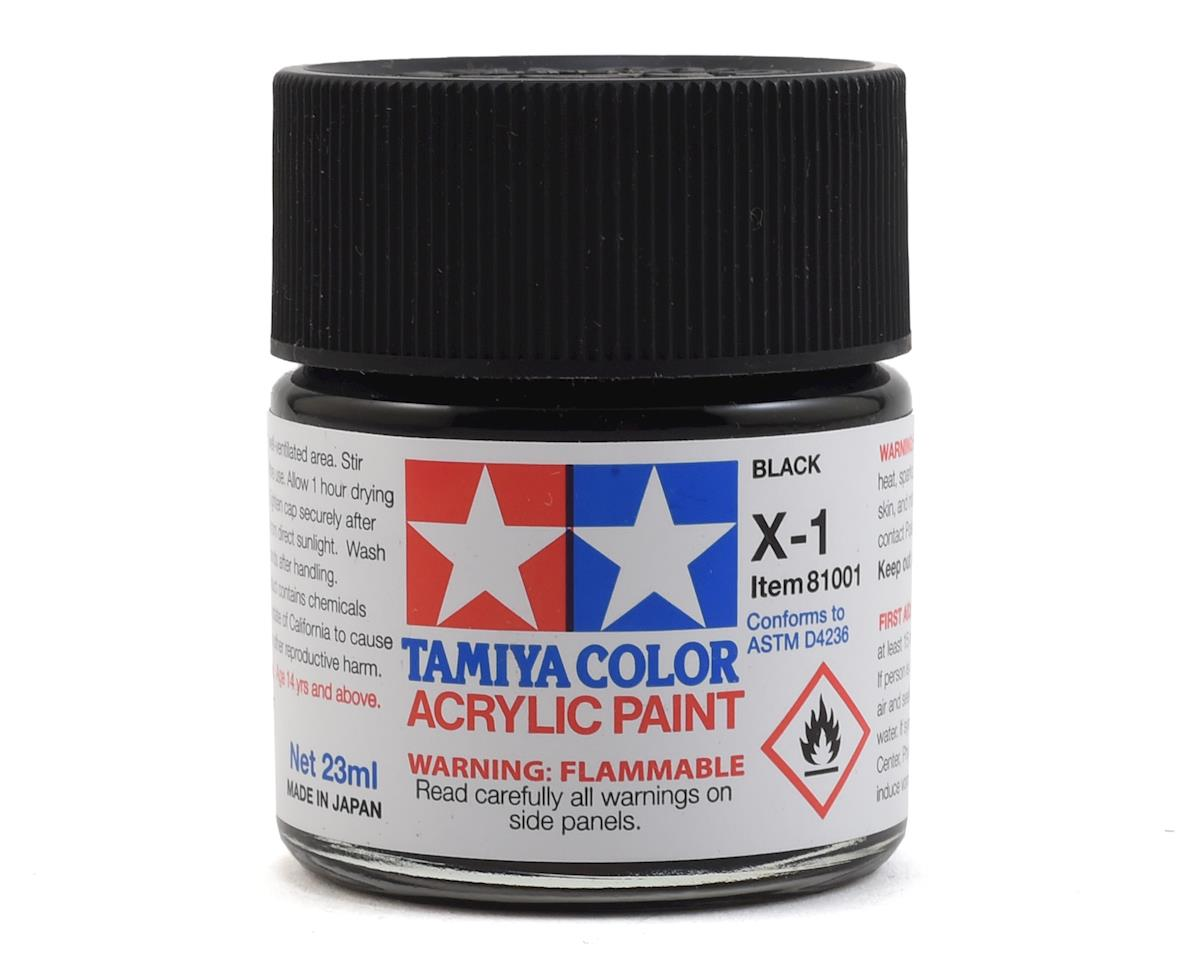 Acrylic X1 Gloss Black Paint (23ml) by Tamiya