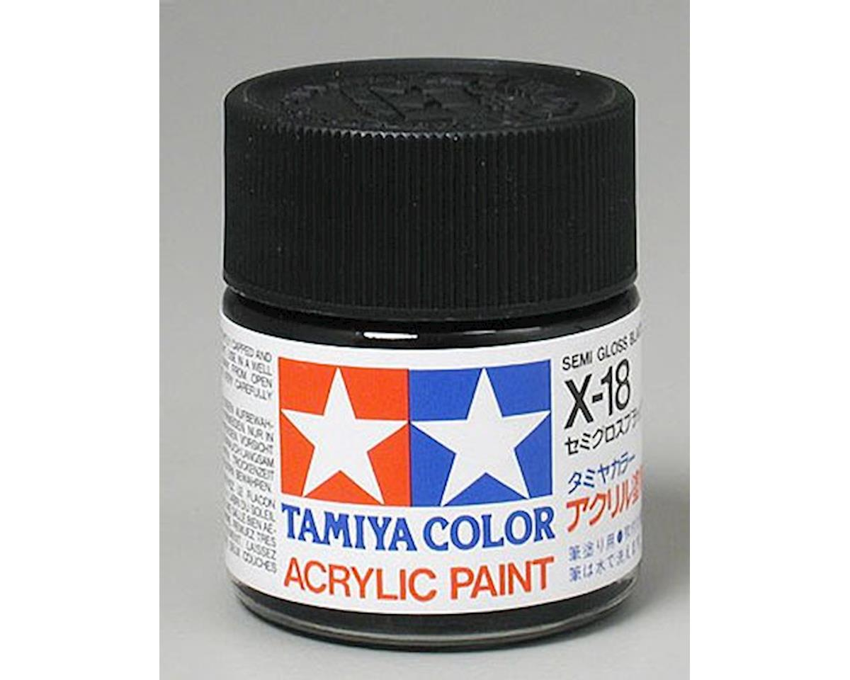 Acrylic X18 Semi Gloss Black Paint (23ml) by Tamiya