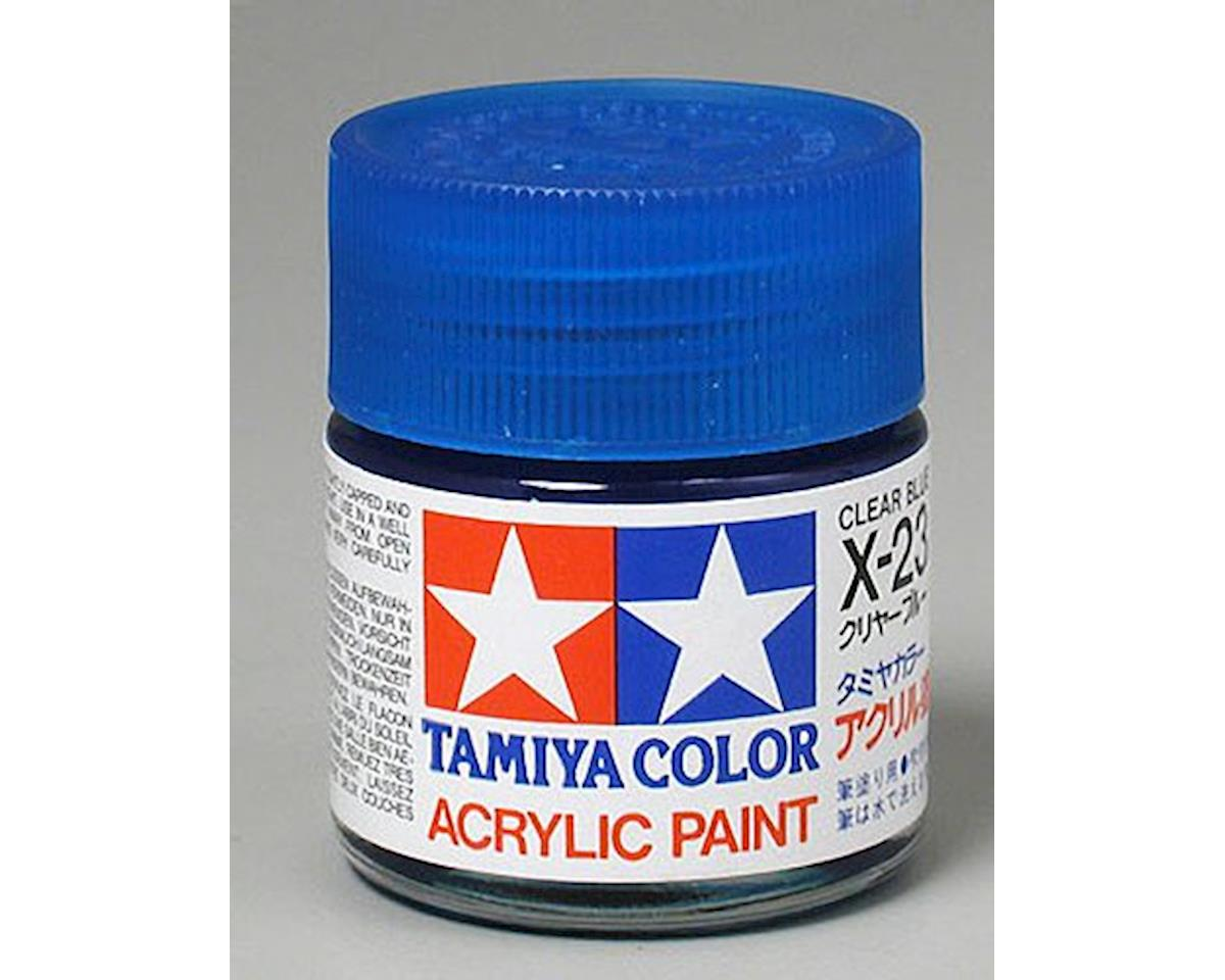 Acrylic X23 Gloss Clear Blue Paint (23ml) by Tamiya