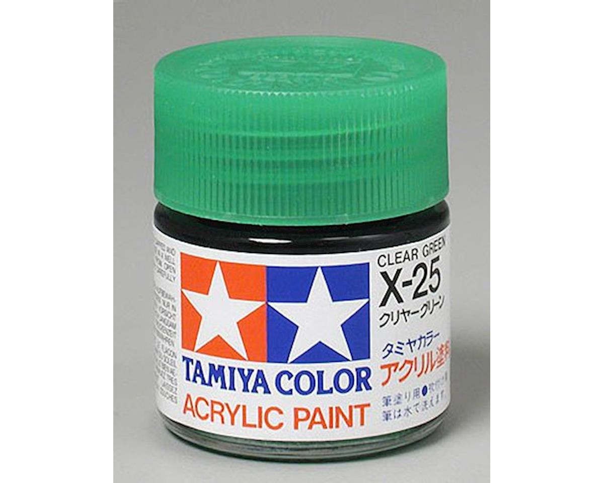 Tamiya Acrylic X25 Gloss Clear Green Paint (23ml)