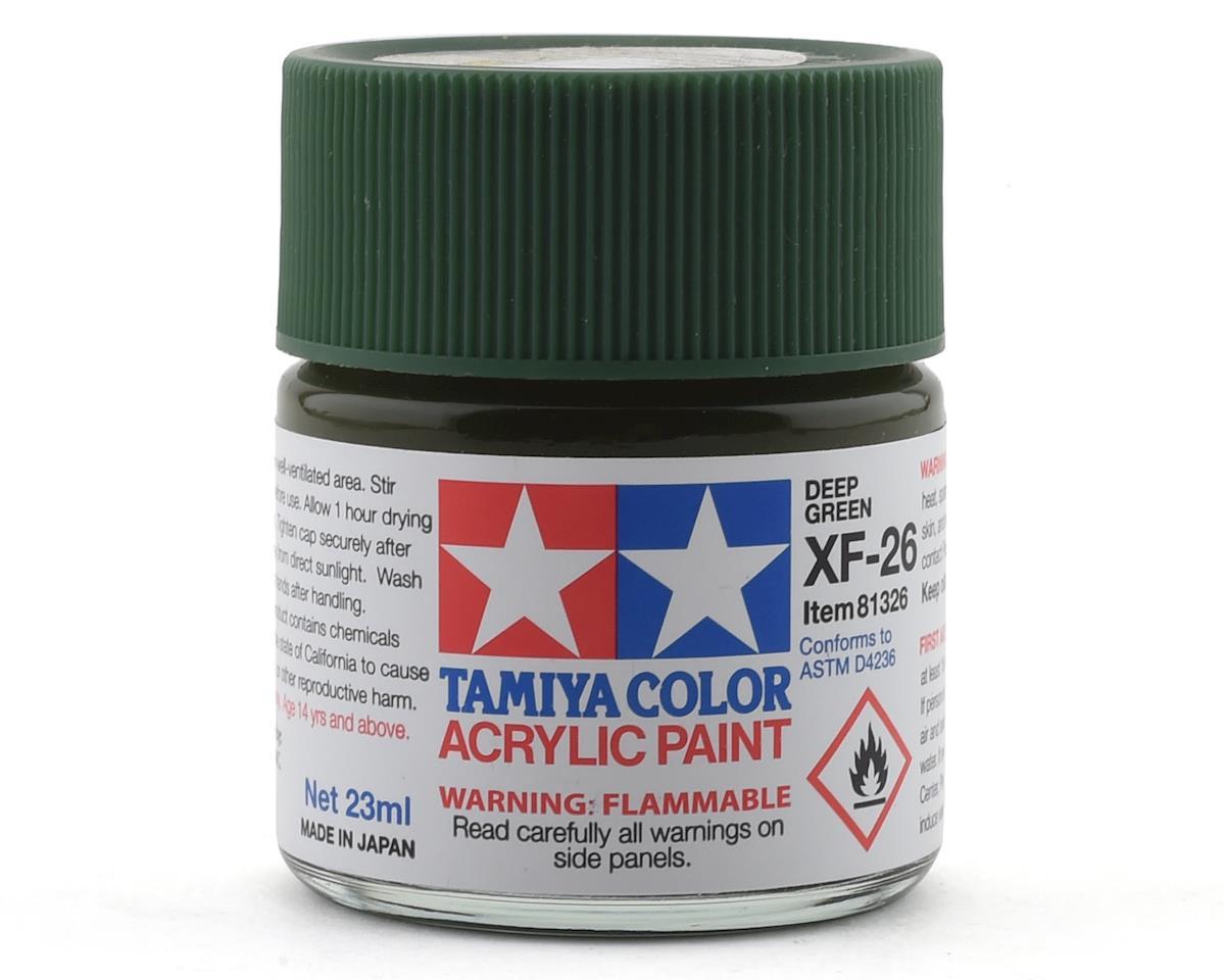 Acrylic XF26 Flat Deep Green Paint (23ml) by Tamiya