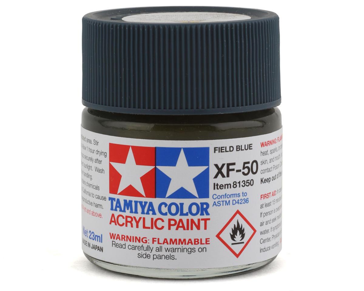 Acrylic XF50 Flat Field Blue Paint (23ml) by Tamiya