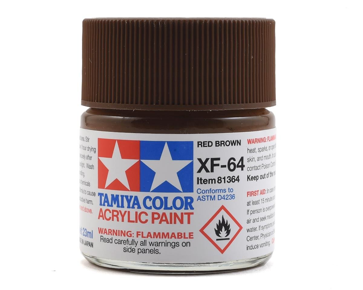 Tamiya Acrylic XF64 Flat Red Brown Paint (23ml)