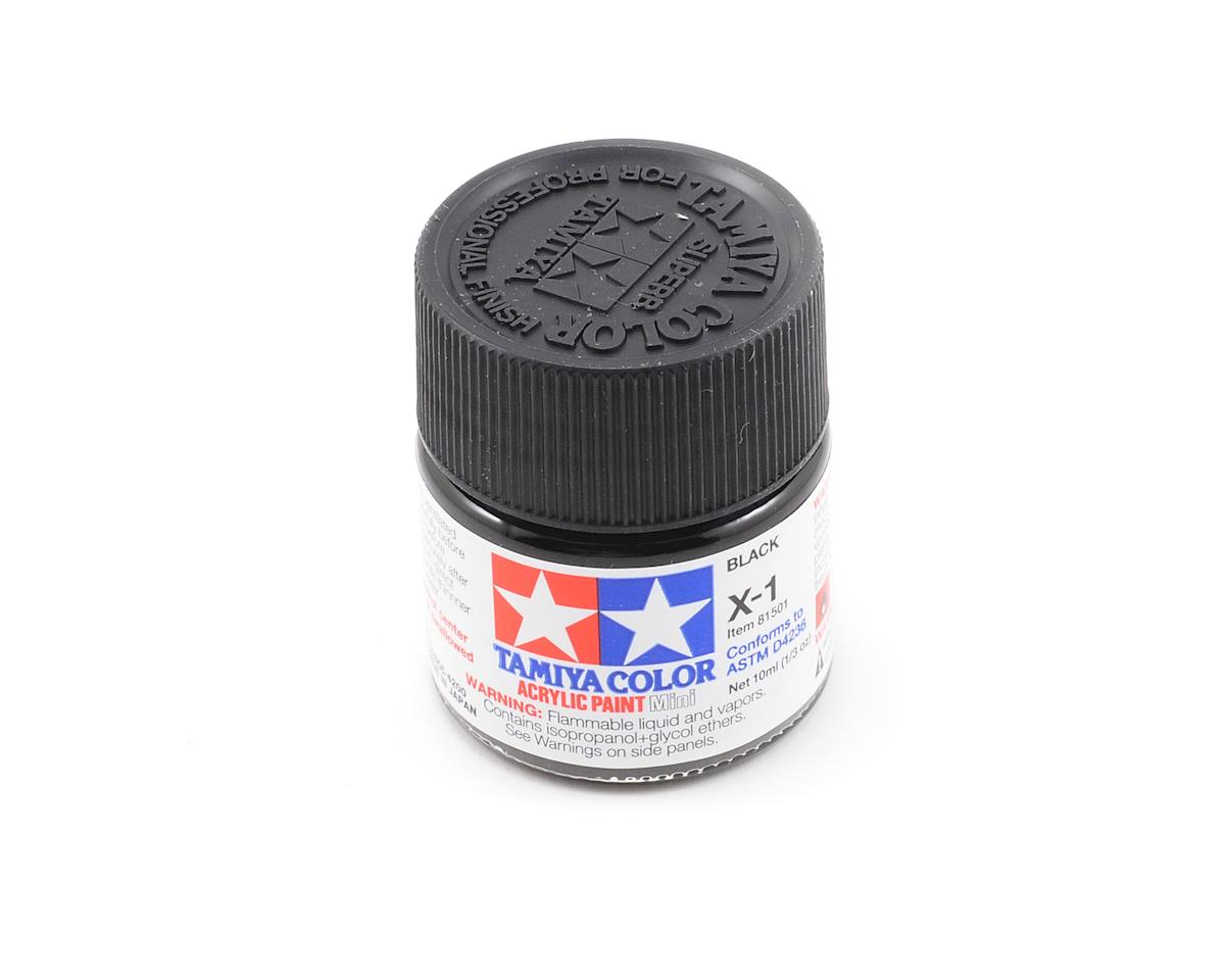 X1 Black Acrylic Paint Mini (1/3oz) by Tamiya