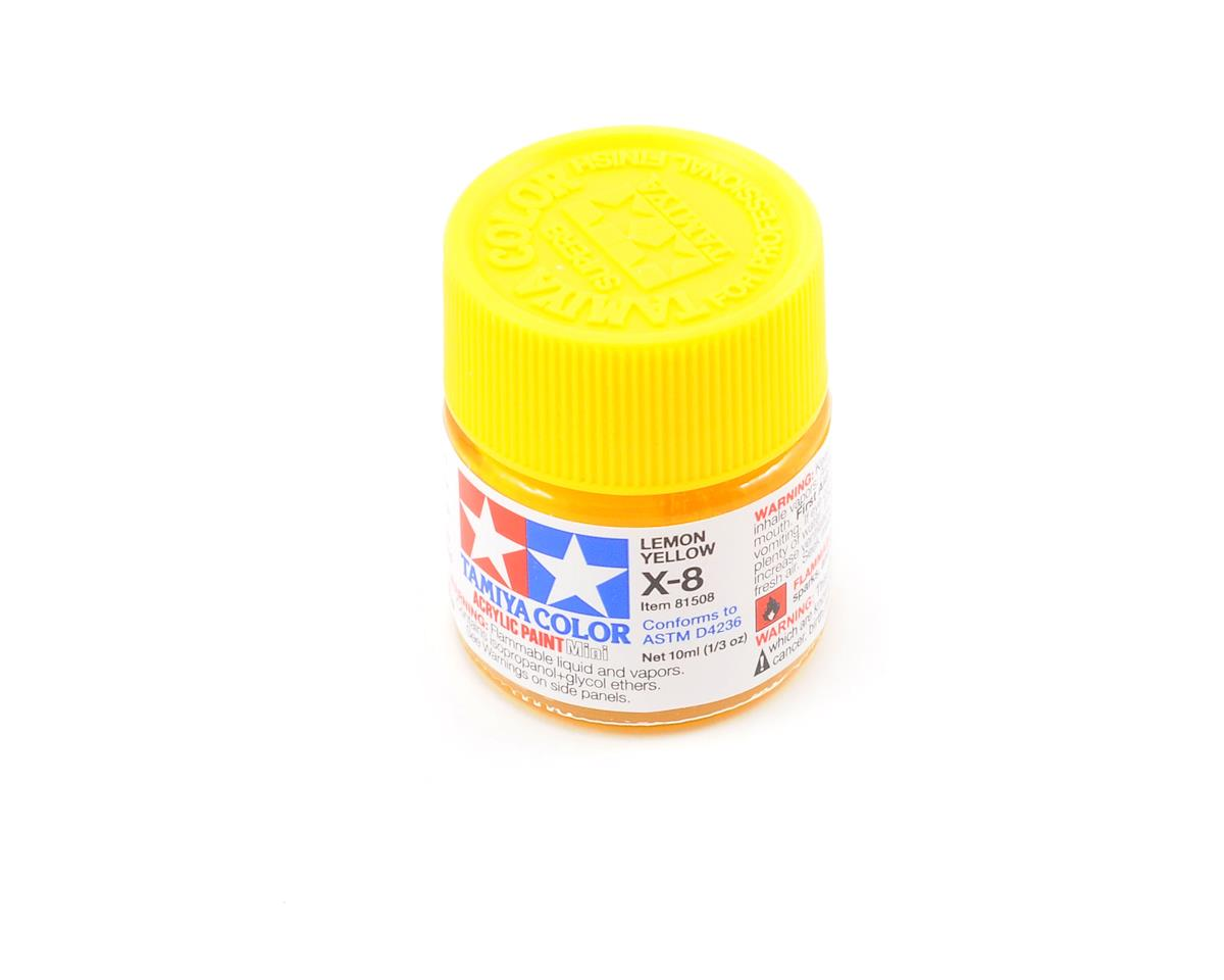 Acrylic Mini X8 Lemon Yellow Paint (10ml) by Tamiya