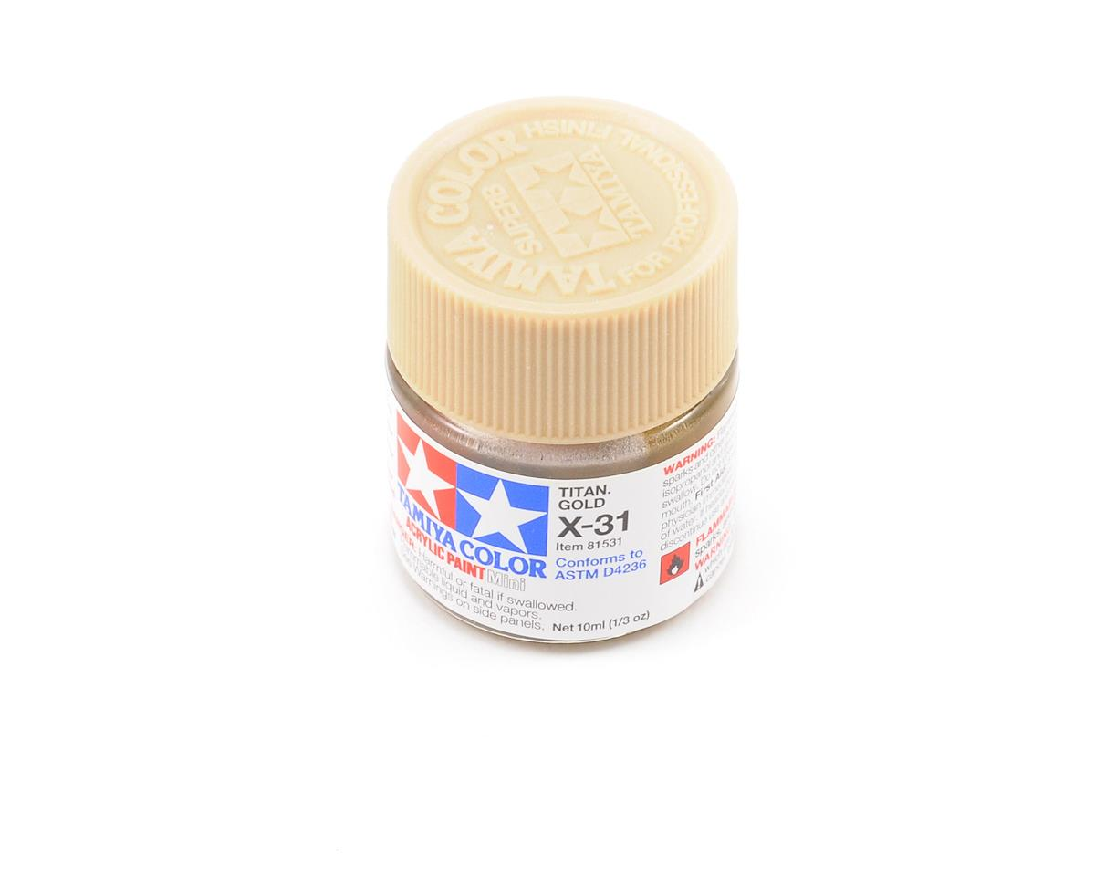Acrylic Mini X31 Metallic Titan Gold Paint (10ml) by Tamiya