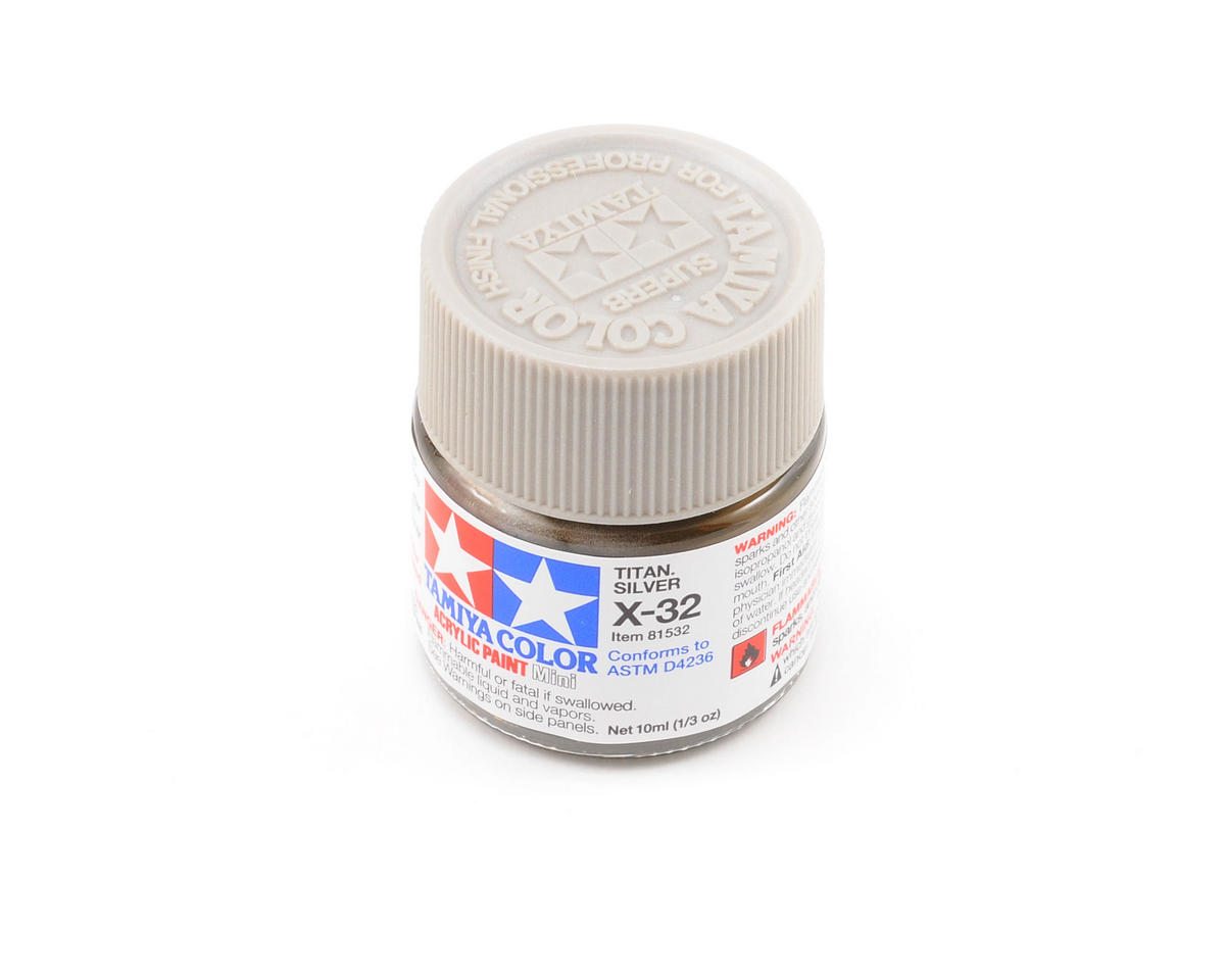 Acrylic Mini X32 Metallic Titan Silver Paint (10ml) by Tamiya