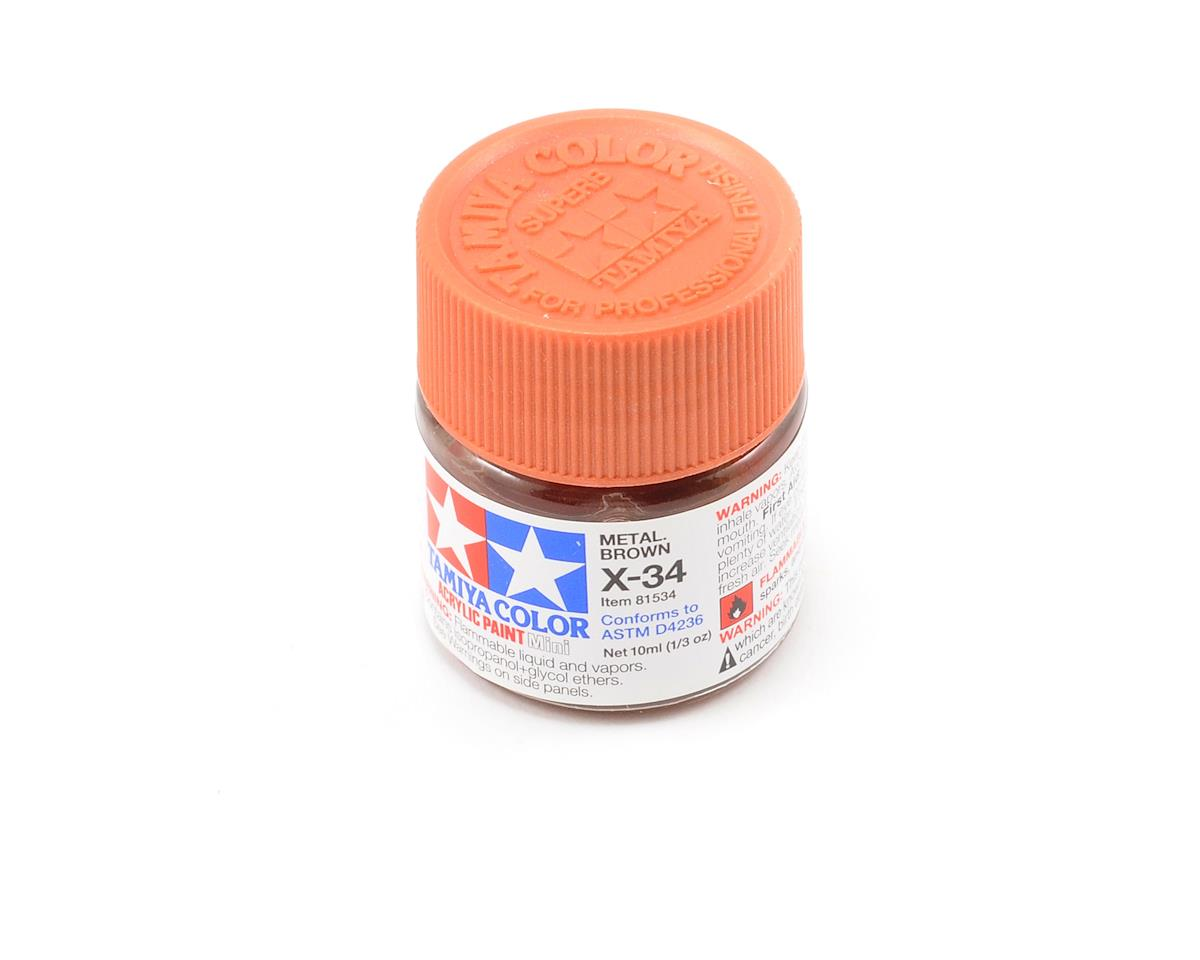 Tamiya Acrylic Mini X34 Metallic Brown Paint (10ml)