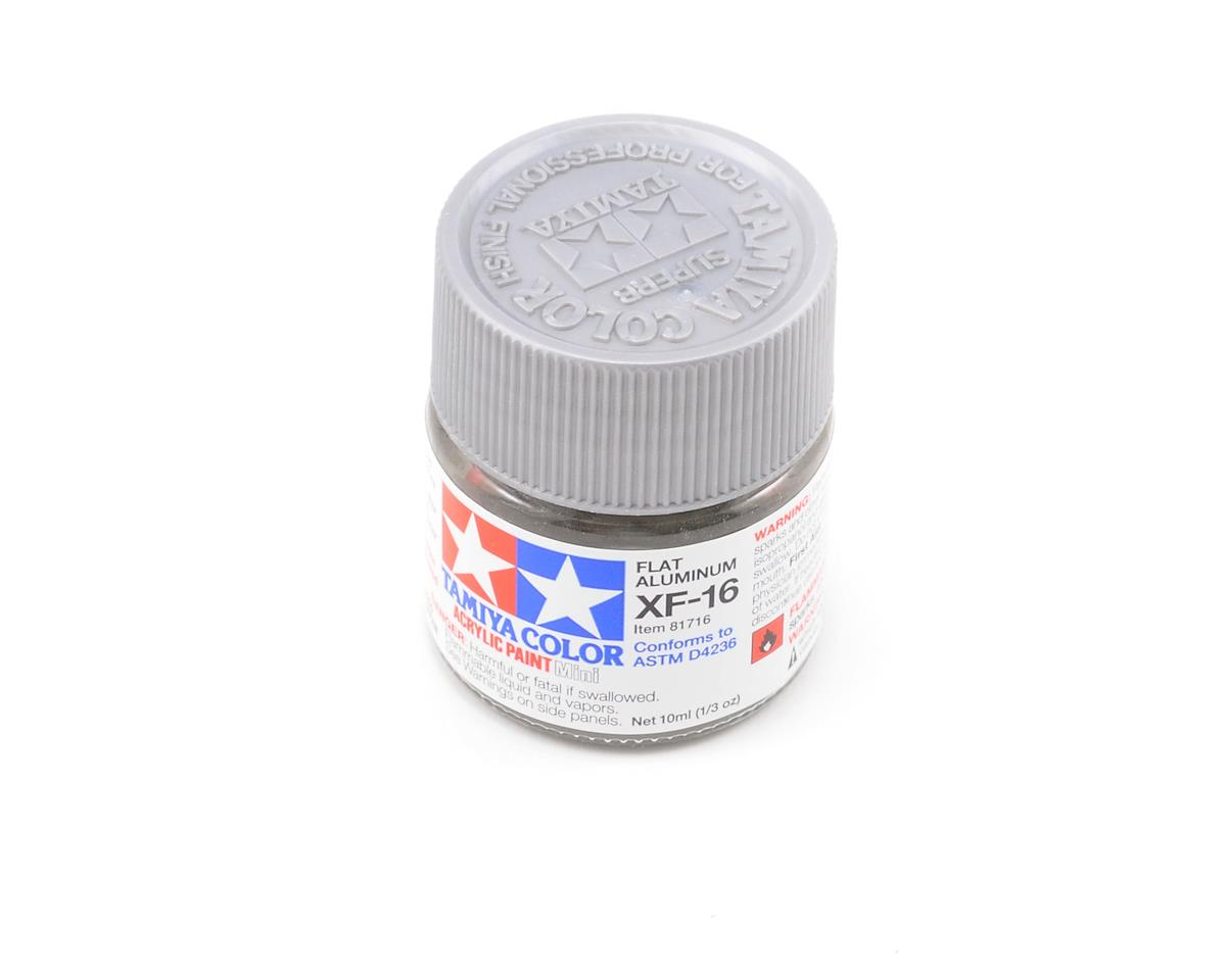 Acrylic Mini XF16 Flat Aluminum Paint (10ml) by Tamiya
