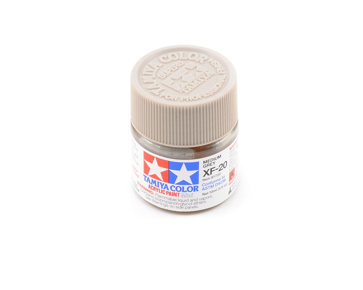 Acrylic Mini XF20 Medium Gray Paint (10ml) by Tamiya