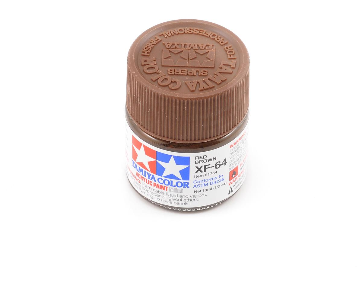 Tamiya Acrylic Mini XF64 Flat Red Brown Paint (10ml)