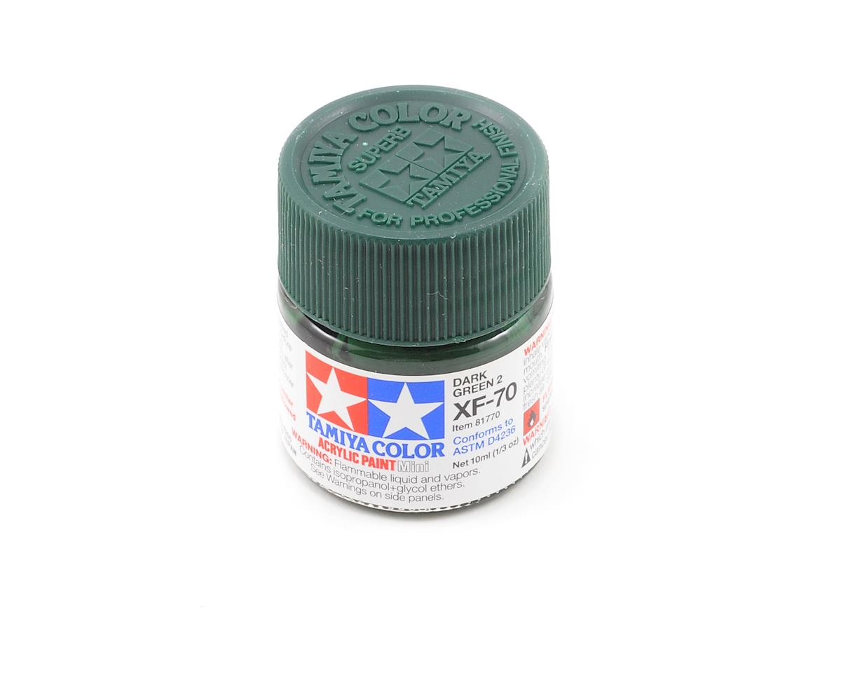 Acrylic Mini XF70 Flat Dark Green Paint (10ml) by Tamiya