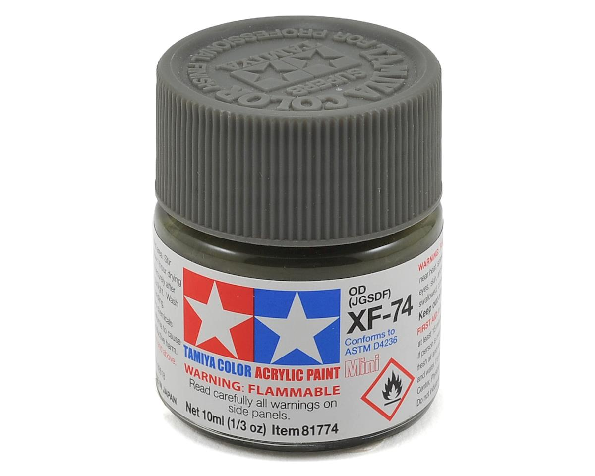 Acrylic Mini XF74 Olive Drab Paint (10ml) by Tamiya