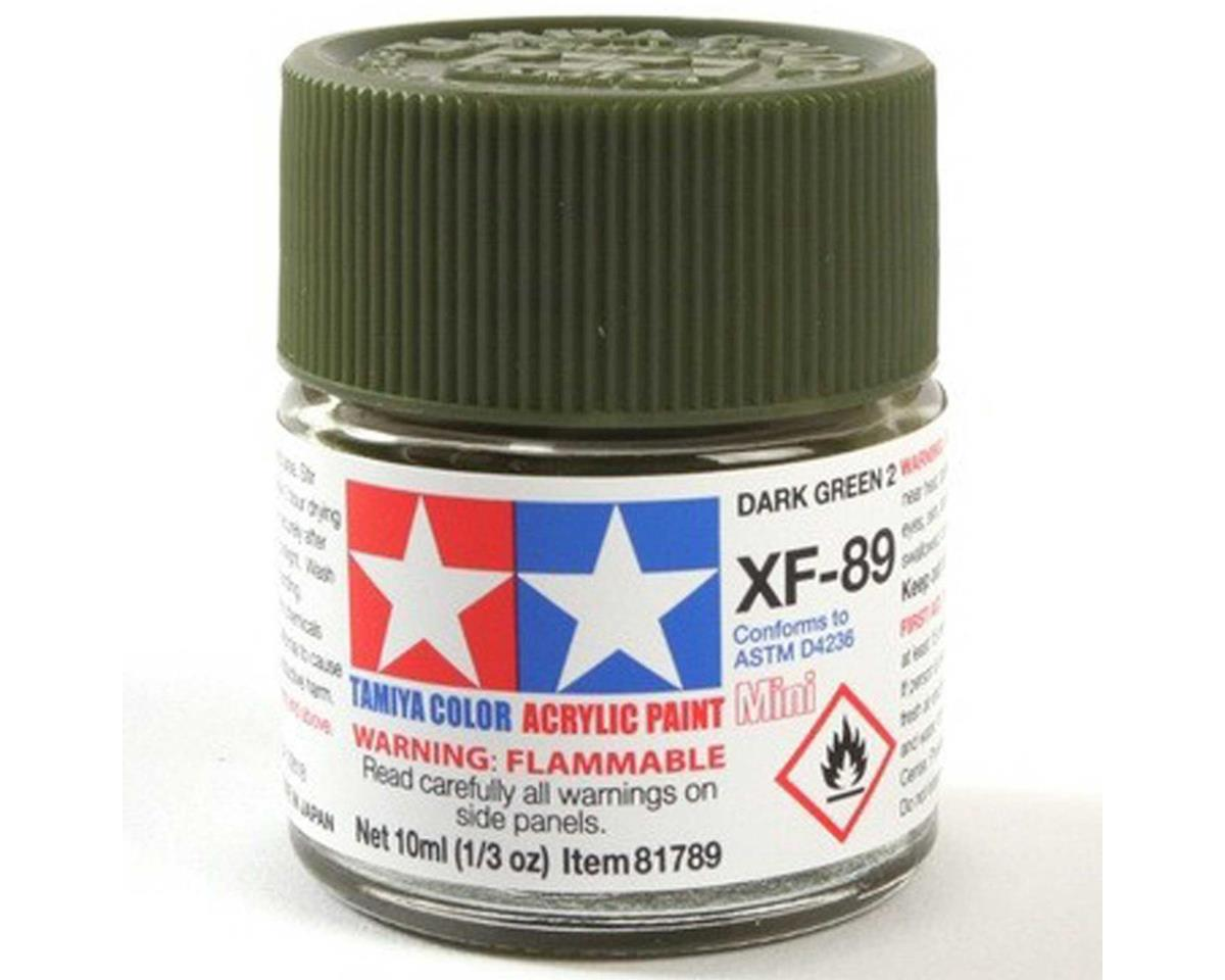 Tamiya Acrylic Mini XF89 Flat Dark Green Paint (10ml)