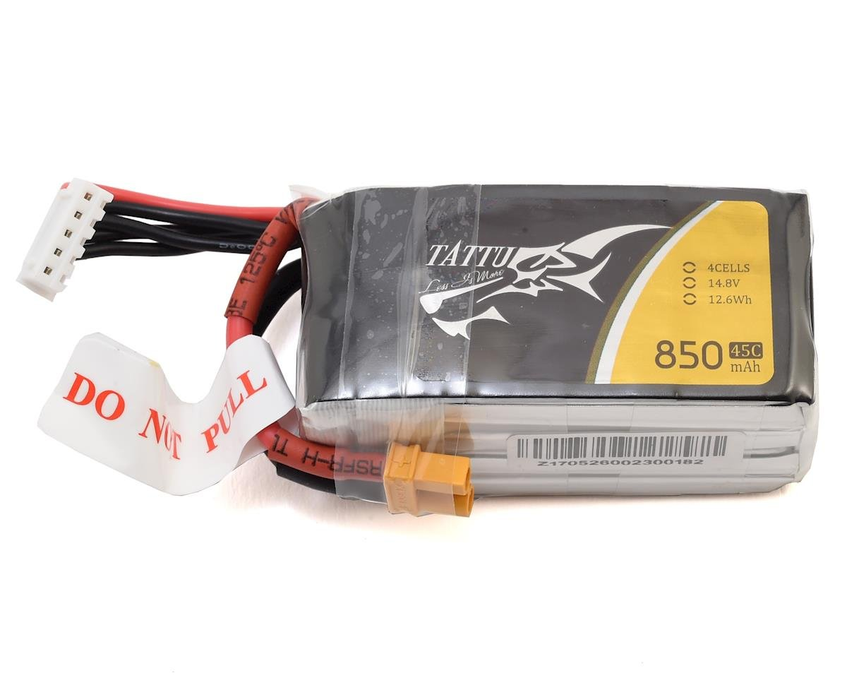 Tattu 4S 45C LiPo Battery w/XT30 (14.8V/850mAh)
