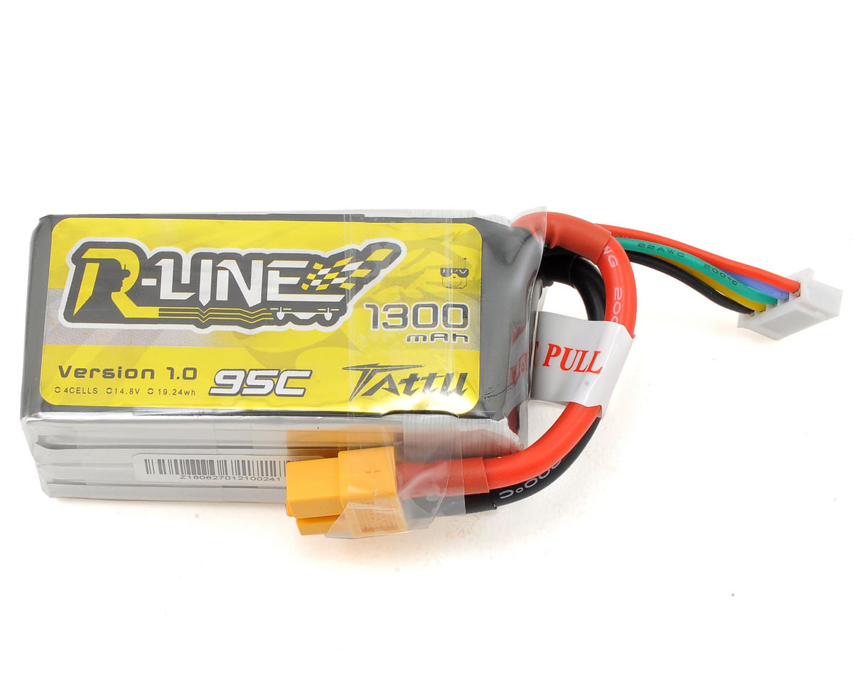 """R-Line"" 4S LiPo Battery 95C (14.8V/1300mAh) (JST-XH) by Tattu"