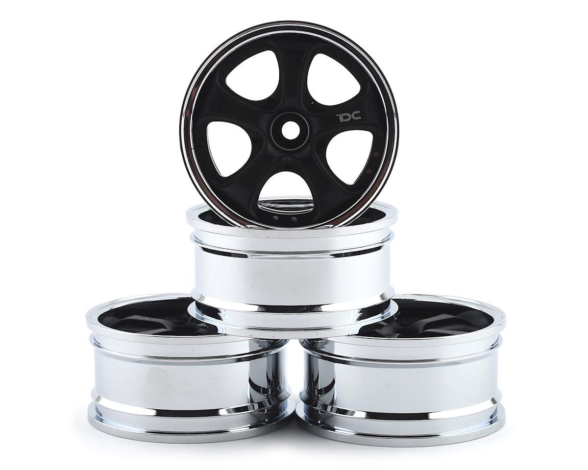 Team DC VS KF Aluminum 1/10 Drift Wheel Set (Black/Silver) (4) (+3/+6/+9 Offset)