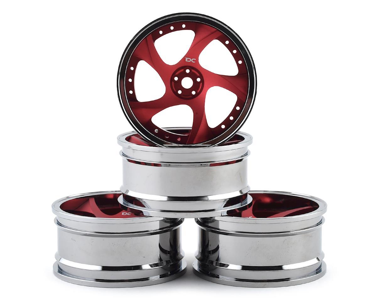Team DC G25 Aluminum 1/10 Drift Wheel Set (Red/Silver) (4) (+3/+6/+9 Offset)