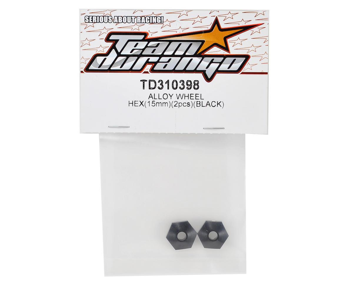Team Durango 15mm Aluminum Wheel Hex (Black) (2)