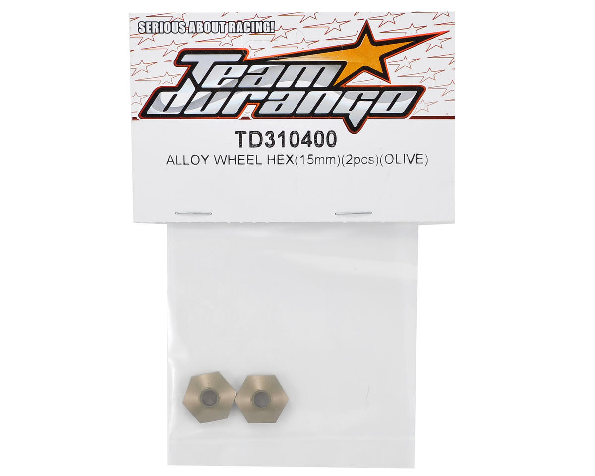 Team Durango 15mm Aluminum Wheel Hex (Olive) (2)
