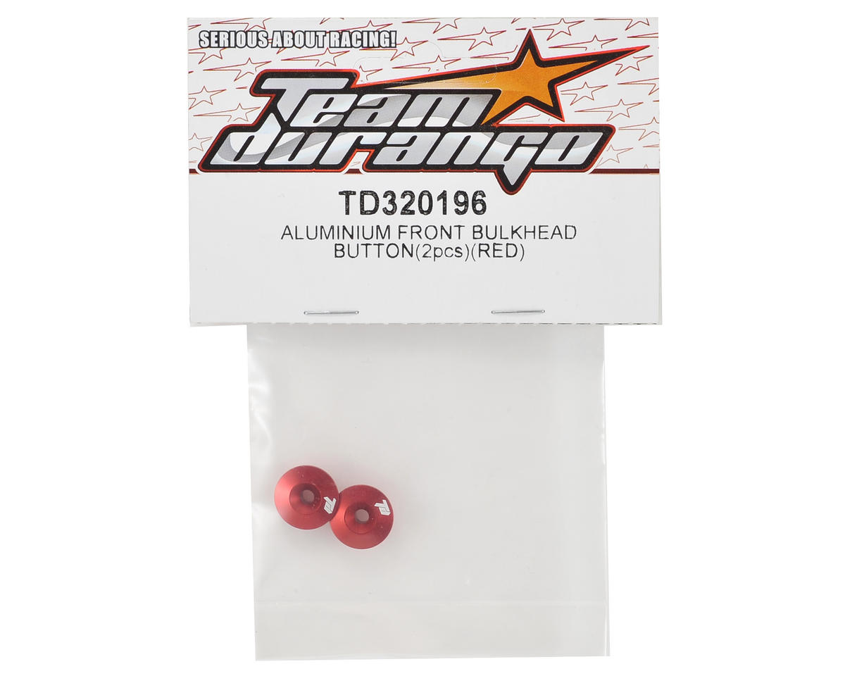 Team Durango Aluminum Front Bulkhead Button (Red) (2)