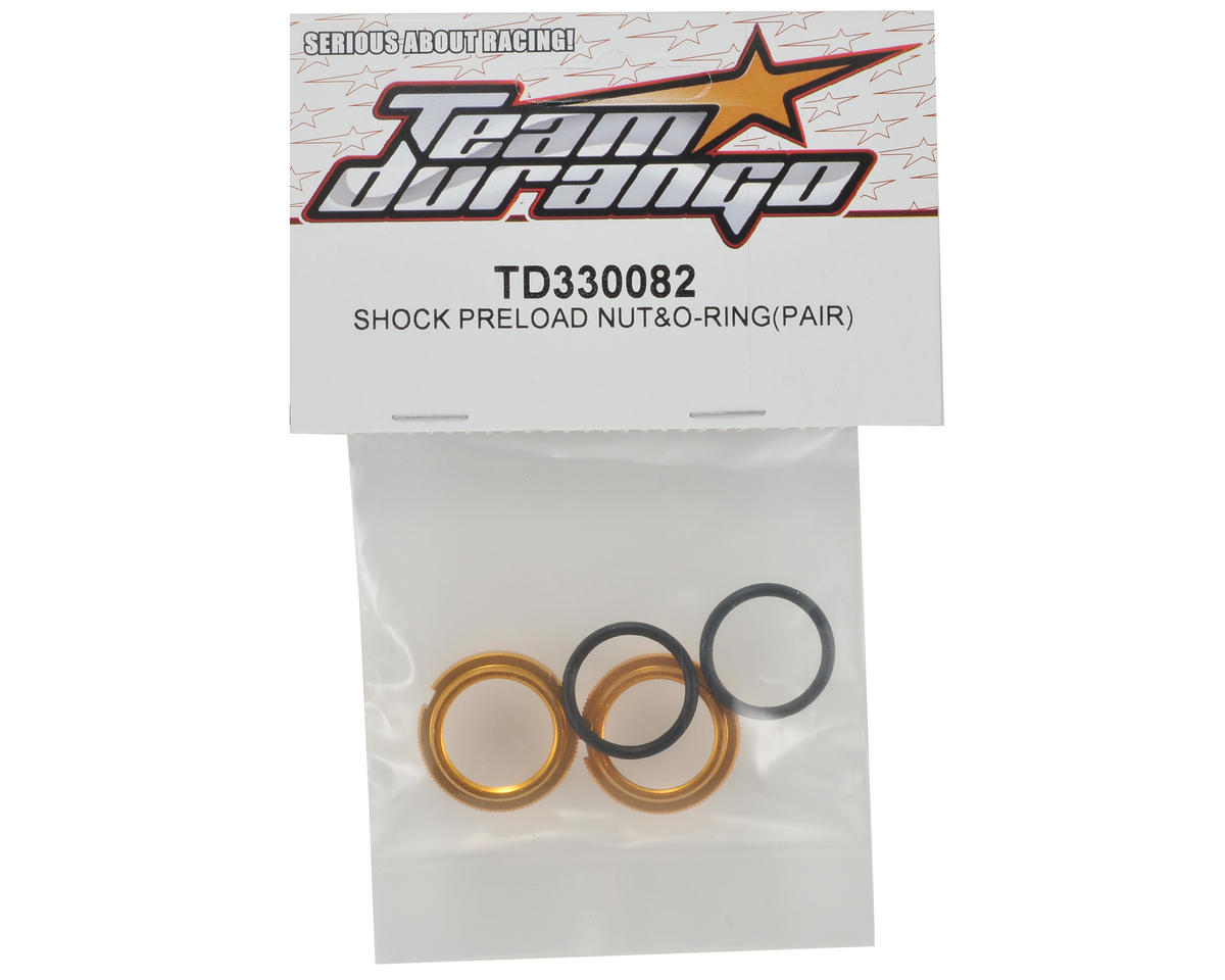 Team Durango Shock Preload Nut Set w/O-Rings (2)