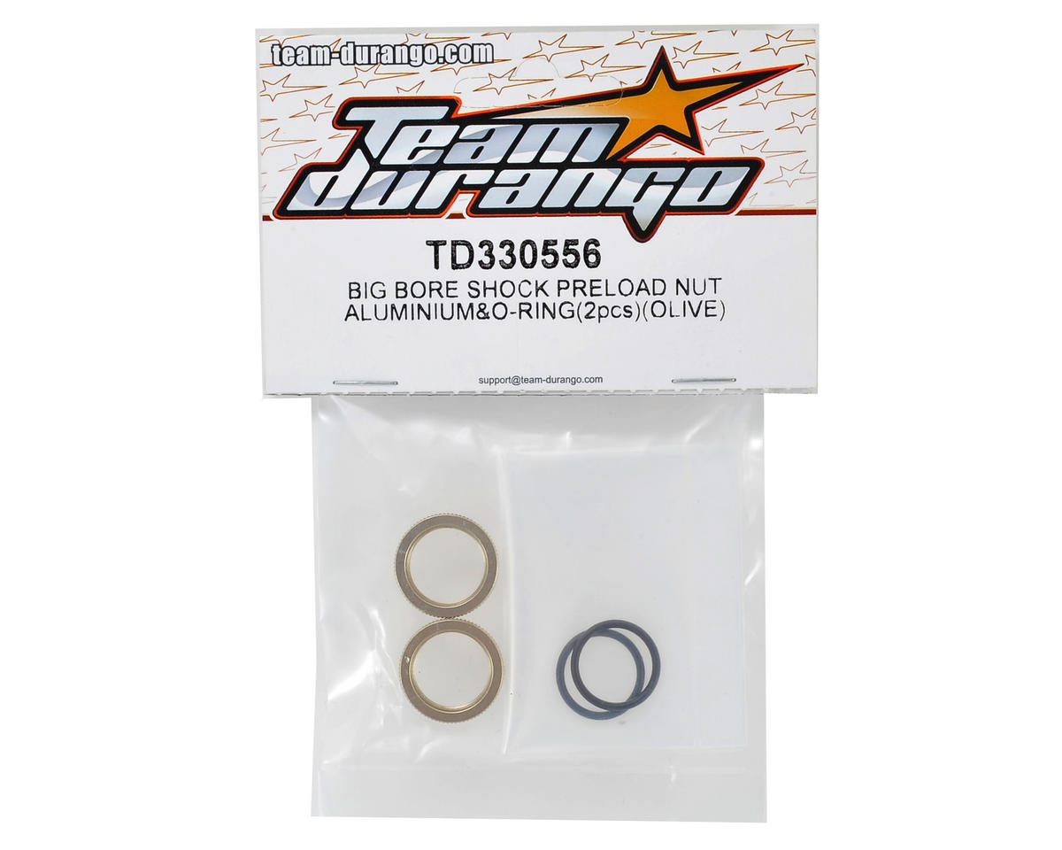 Team Durango Aluminum Shock Preload Nut (Olive) (2)