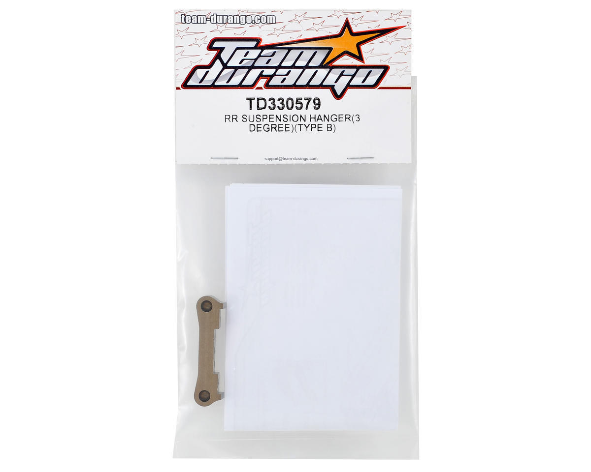 Team Durango 3° Aluminum Rear Suspension Hanger (Type B)