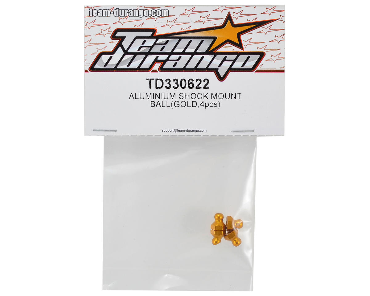 Team Durango Aluminum Shock Mount Ball (Gold) (4)