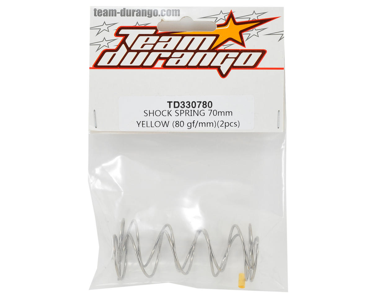 Team Durango 70mm Shock Spring (80gf/mm - Yellow) (2)