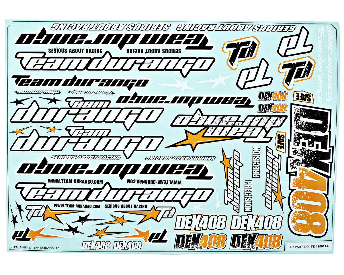 Team Durango DEX408 Decal Sheet