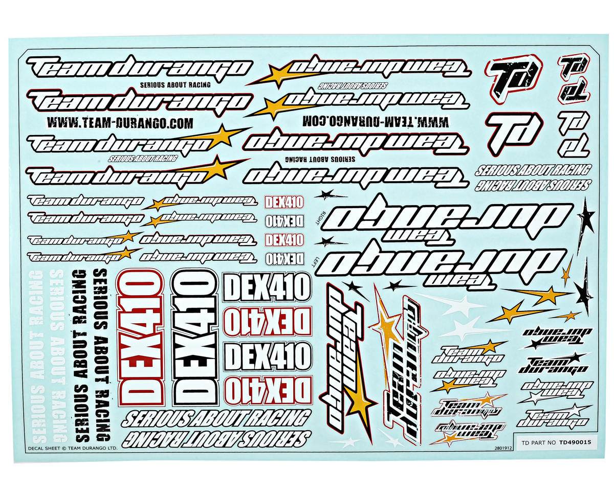 Team Durango DEX410 Decal Sheet