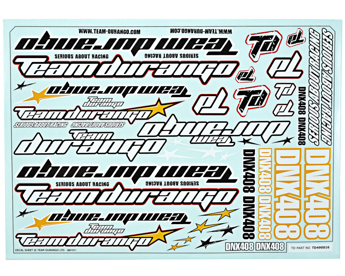 Team Durango DNX408 Decal Sheet