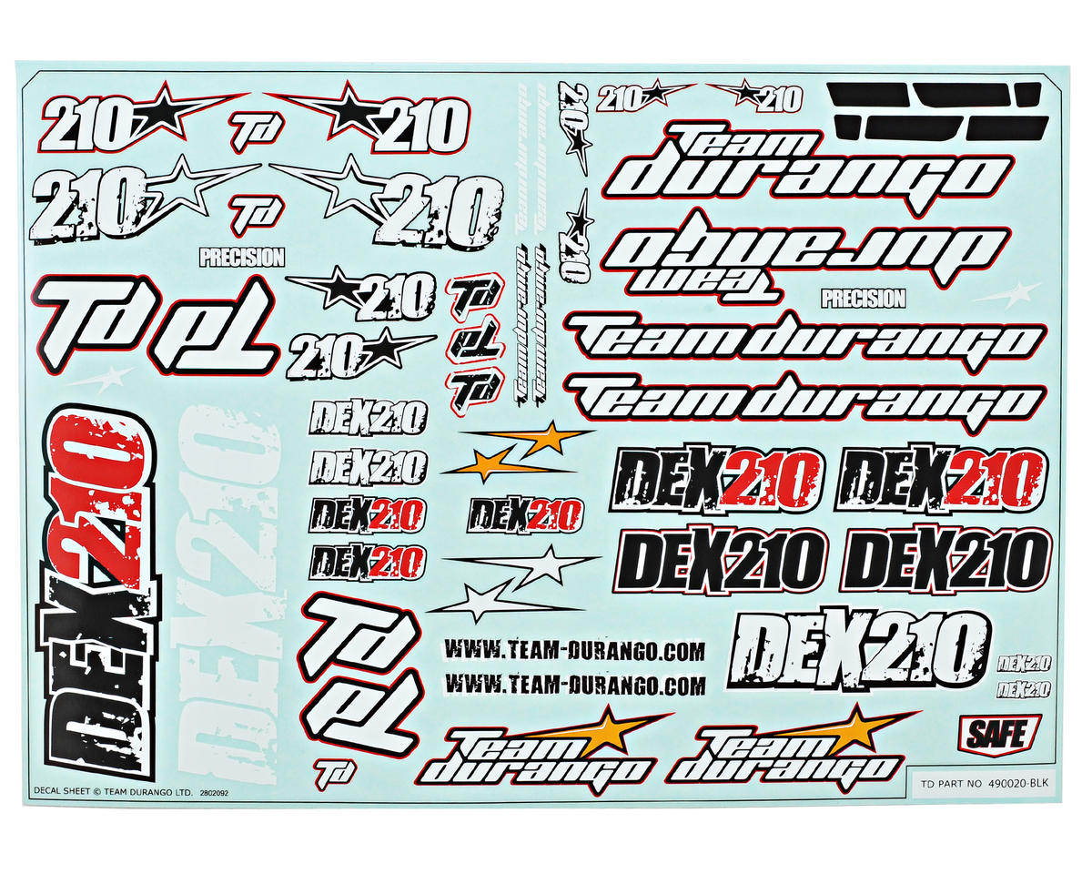 Team Durango DEX210 Decal Sheet