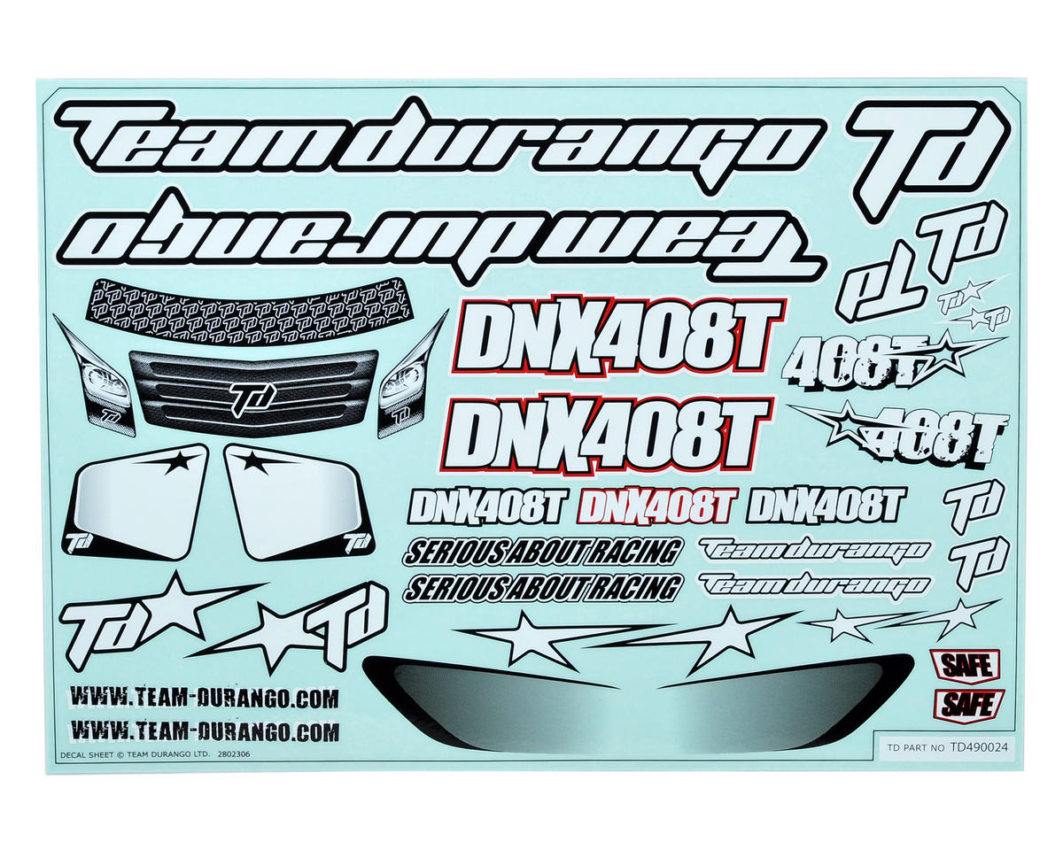 Team Durango DX408T Decal Set