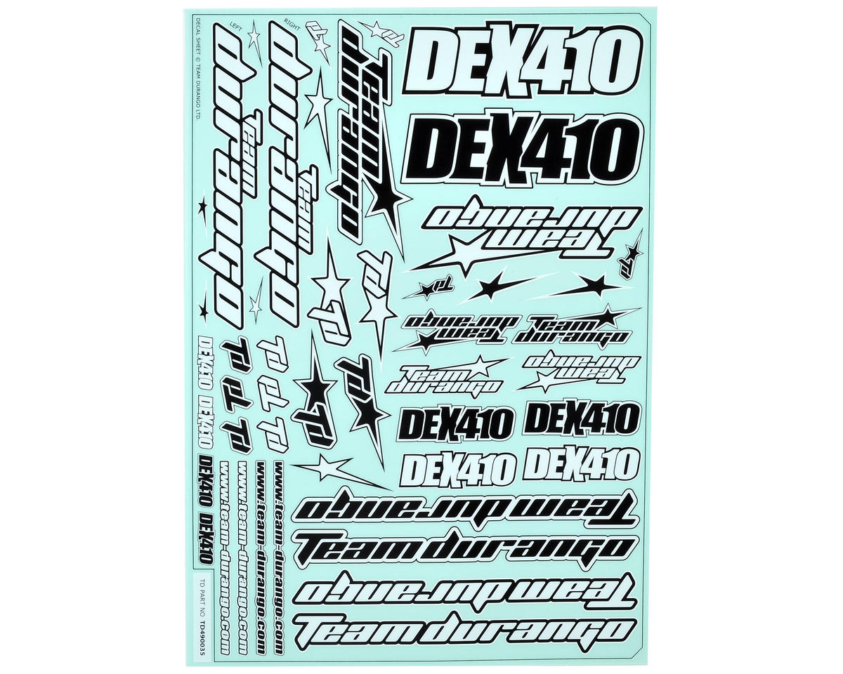 Team Durango DEX410 V4 Decal Sheet