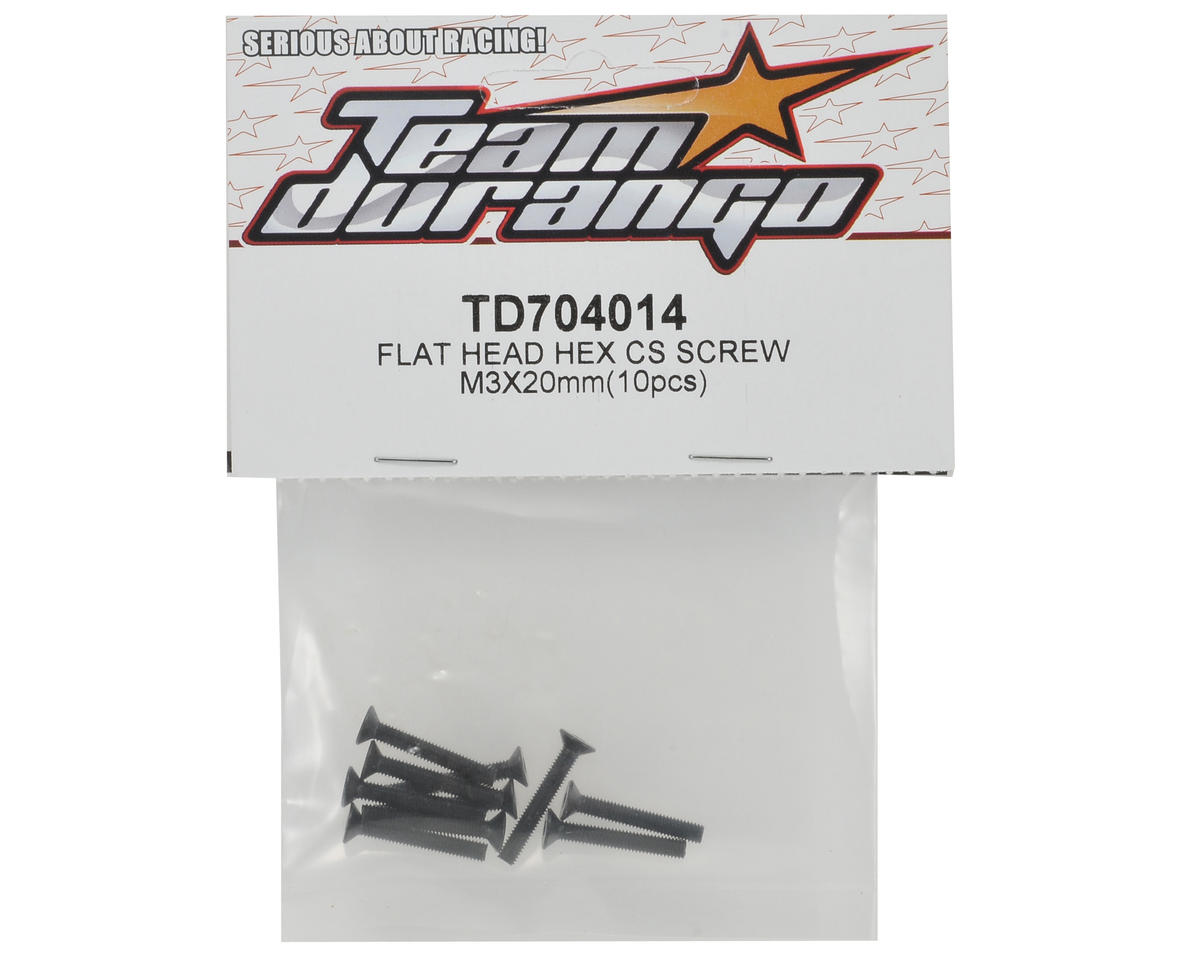 Team Durango 3x20mm Flat Head Hex Screw Set (10)