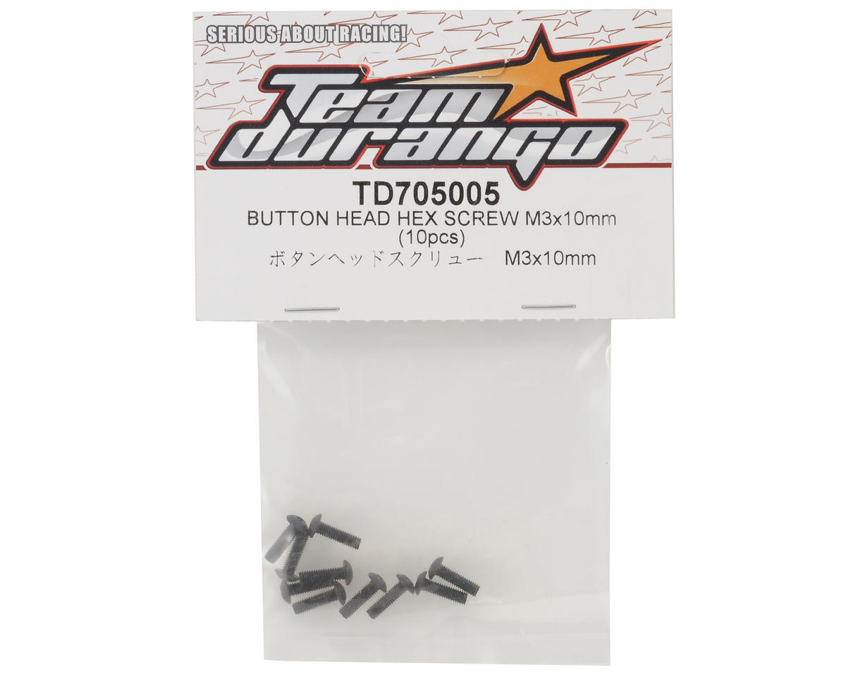 Team Durango 3x10mm Button Head Hex Screw Set (10)
