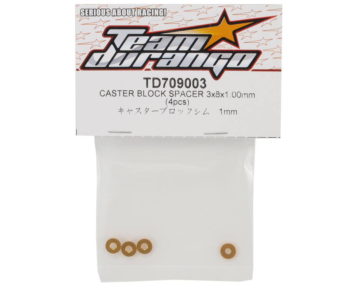 Team Durango 3x8x1.00mm Caster Block Spacer Set (4)