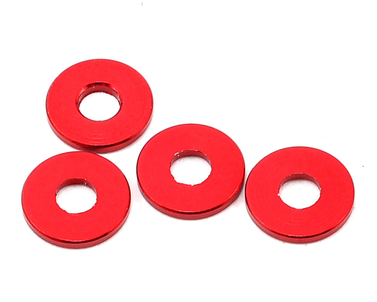 Team Durango 8x3x1mm Aluminum Spacer (Red) (4)