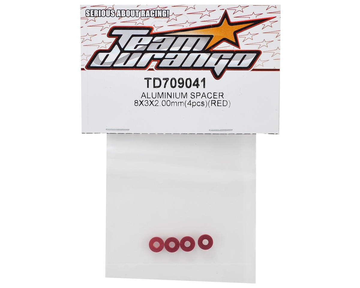 Team Durango 8x3x2mm Aluminum Spacer (Red) (4)