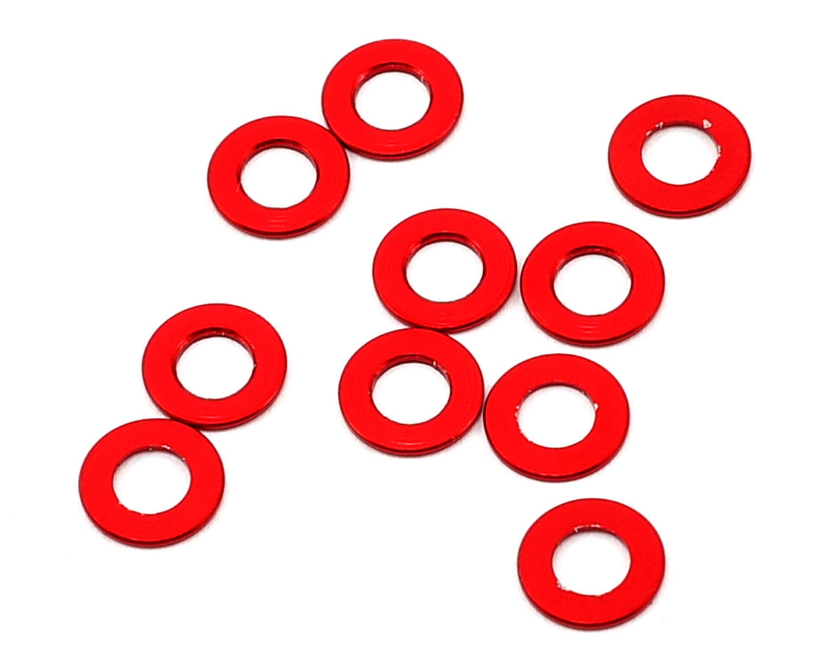 Team Durango 6x3x0.5mm Aluminum Spacer (Red) (10)