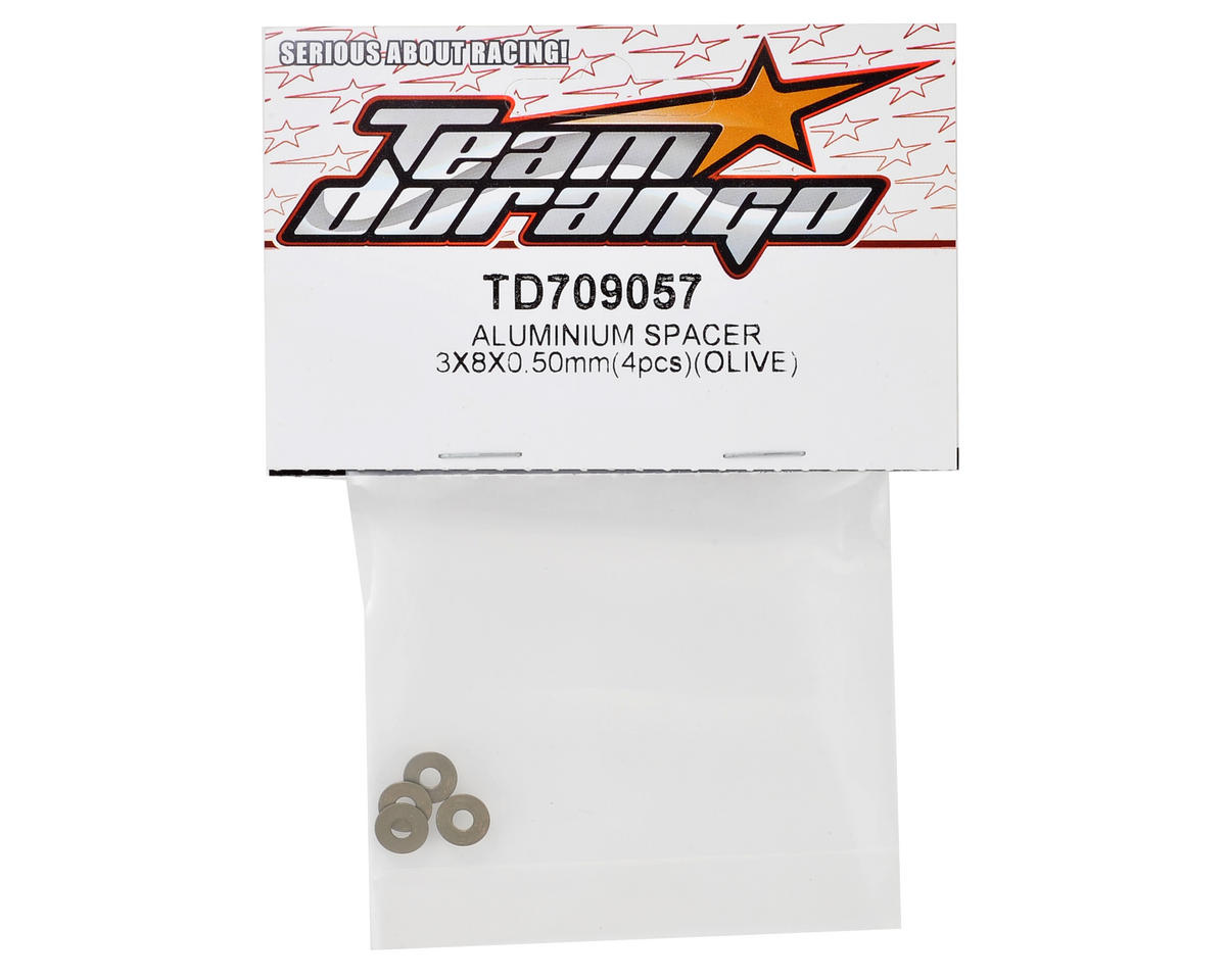 Team Durango 8x3x0.5mm Aluminum Spacer (Olive) (4)