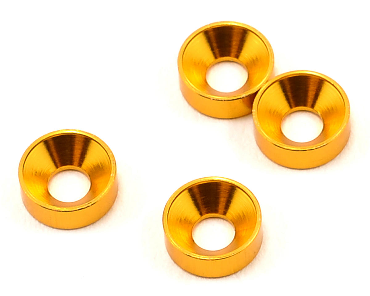 Team Durango 3mm Aluminum Countersunk Washer (Gold) (4)